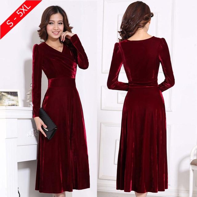 Плюс Размеры 4XL 5XL Для женщин зима платье с длинным рукавом v-образным вырезом длиной макси бархатные платья Элегантная Дамская официальная Вечеринка красные платья черный