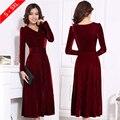 Más el tamaño xxxl 4xl 5xl mujeres winter dress v-cuello largo maxi vestidos de terciopelo elegantes vestidos de las señoras formales del partido rojo negro, rojo, azul