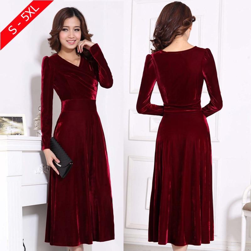 Plus Size 4xl 5xl Women Winter Dress Long Sleeve V Neck