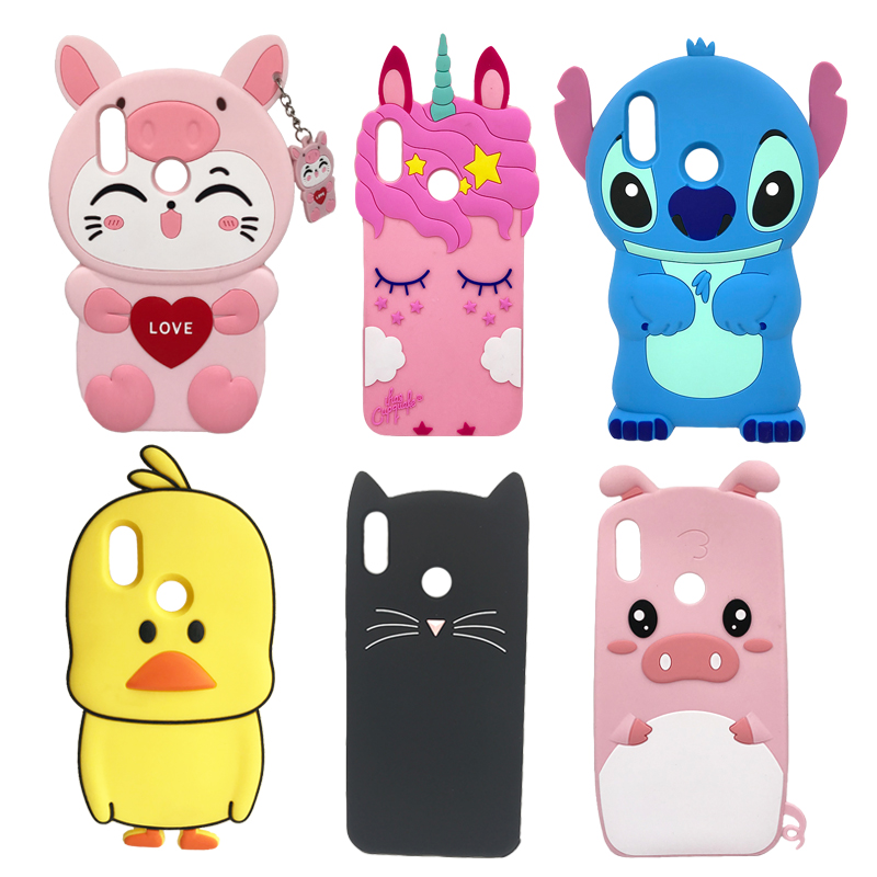 Soft Silicone Phone Case For Huawei P Smart 2019 Case Cute 3D Stitch Cat Unicorn Back Cover For Honor 10 Lite Luxury Funda Coque-in Fitted Cases from Cellphones & Telecommunications