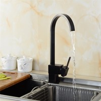 Waterfall Kitchen Faucets Brass Brushed Black Bathroom Faucet Square Single Handle Sink Taps Hot Cold 360