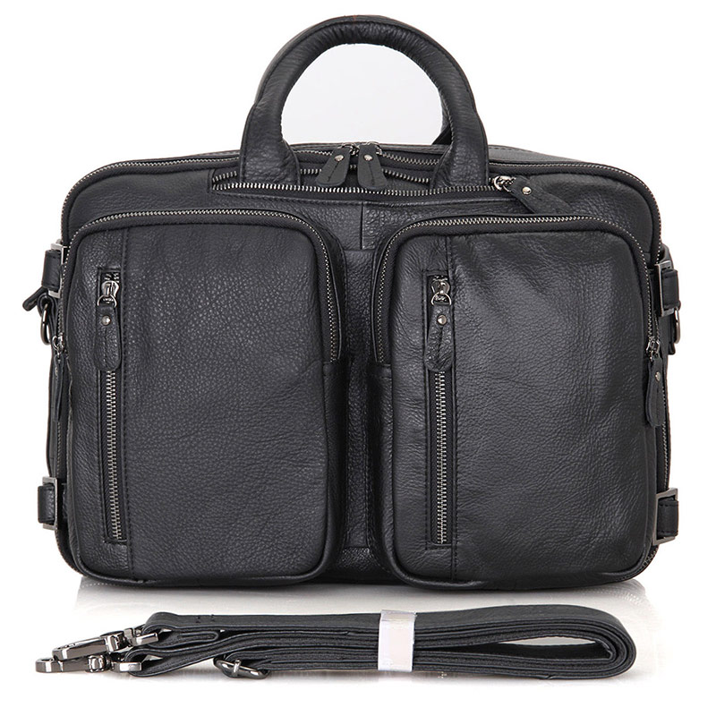 Augus Genuine Leather Solid Color Design Men's Briefcase Black Crossbody Bag Document Leather Handbag 7014A sweet women s crossbody bag with solid color and pu leather design