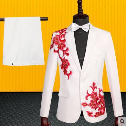 White Embroidery Blazer Men Suit Set With Pants Mens Wedding Suits Costume Singer Stage Clothing Formal Dress Chorus Fashion