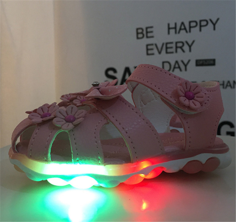 HTB1b2i1ef9TBuNjy1zbq6xpepXat - Xinfstreet Baby Toddler Girls Summer Shoes Children Sandals With Light Up Breathable Soft Bow Kids Girls Sandals Size 21-30