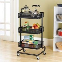 Metal Kitchen Carts Wheeled Storage Rack Shelf Vegetable Floor Bathroom Shelf Storage