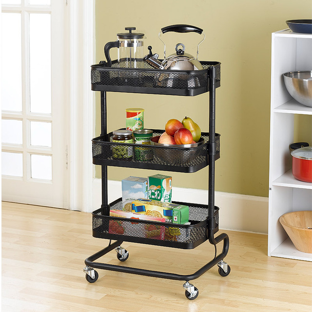 Metal Kitchen Carts Wheeled Storage Rack Shelf Vegetable Floor Bathroom  Shelf Storage