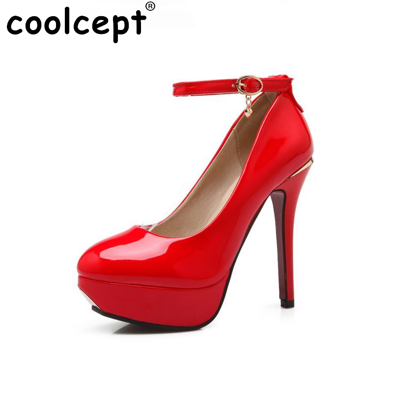 ФОТО women stiletto  high heels ankle strap shoes water proof brand quality fashion pumps heeled shoes size 32-43 P22798