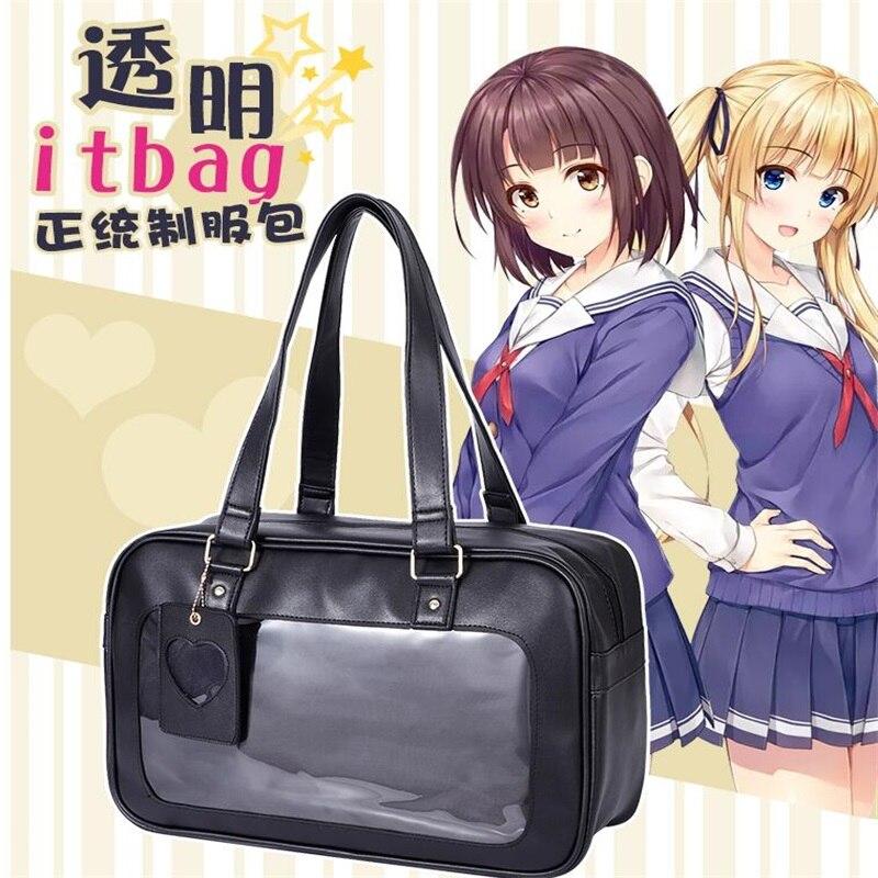 Harajuku japonais Lolita haute école Transparent Itabag JK uniforme PU étudiant sacs d'école Cosplay filles Anime sac à main