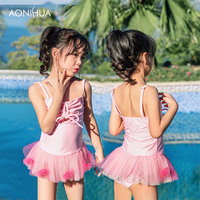 380de42c676fe AONIHUA Girls Two Pieces Suits For Swimming Children Polyester Swimwear  Kids Bathing Suit Swim Wear Girl