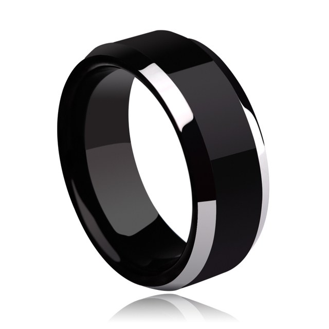 Tungsten Man's Rings Plating the IP Black High Polished