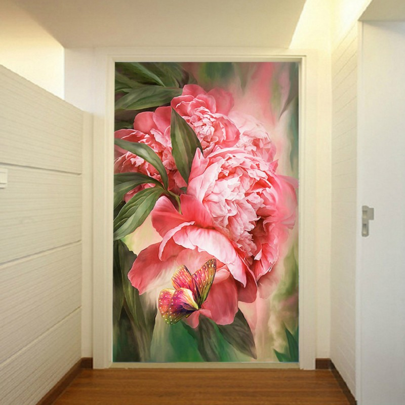Custom photo wallpaper Beautiful Bright peony flowers entrance Background Wall Murals Restaurant decorative Wallpaper beautiful net color decorative pattern design of modern household wall paint murals background wallpaper with high quality papel