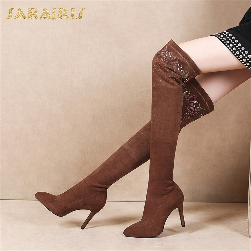 SARAIRIS New Hot Sale Sexy Thin High Heels Slip On Shoes Woman Boots Over The Knee Boots Woman Shoes Size 33-39SARAIRIS New Hot Sale Sexy Thin High Heels Slip On Shoes Woman Boots Over The Knee Boots Woman Shoes Size 33-39