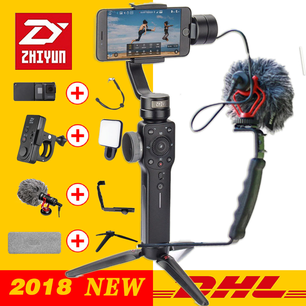 Zhiyun SMOOTH 4 3-Axis Handheld Gimbal Stabilizer for Smartphone action camera phone Portable iPhone X Gopro Hero sjcam cam x cam sight2 2 axis smartphone handheld stabilizer mobile phone brushless gimbal with bluetooth for iphone samsung xiaomi nexus