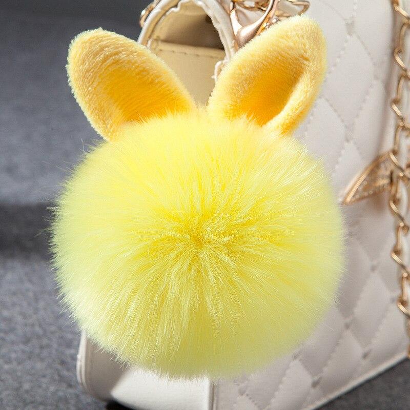 Pompon Fluffy Porte Clef Pompom De Fourrure Women Femme Pom Pom Keychain Rabbit Ear Fur Ball Key Chain Rings Llavero bag 6C0033