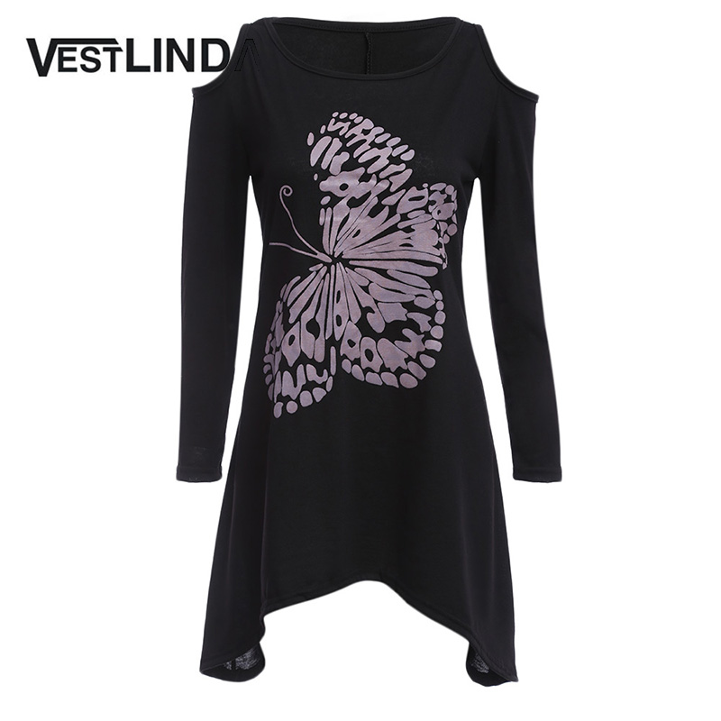 Vestlinda fashion spring t shirt women scoop collar long for How to cut sleeves off a shirt