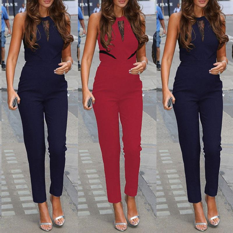 Women   Jumpsuit   Sleeveless Lace Embroidery Playsuit Female OL Office Style Casual Siamese Trousers Ladies Slim Long Pants #920