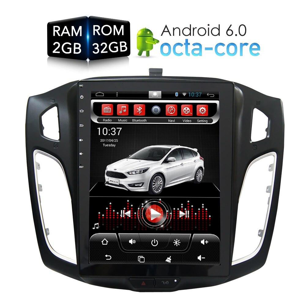 Tesla HD écran Android 6.0 lecteur DVD de voiture GPS Navi multimédia pour Ford Focus 2 Din 2012 2013 2014 2015 RDS Radio Audio stéréo