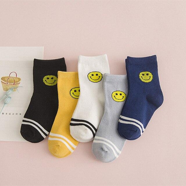 b72c2ef03cea 5 Pairs Children s Cotton Socks Wholesale Cute Cartoon Smiley Face Boys and Girls  Socks Kids Primary School Sports Socks