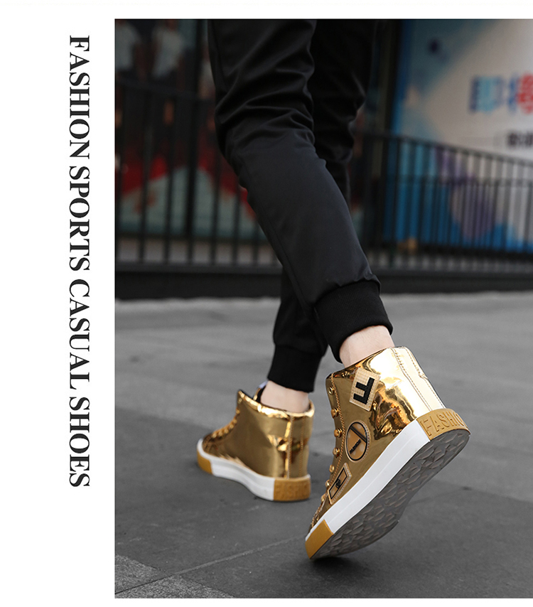 2018 Men leather casual shoes hip hop Gold fashion sneakers silver microfiber high tops Male Vulcanized shoes sizes 46 1