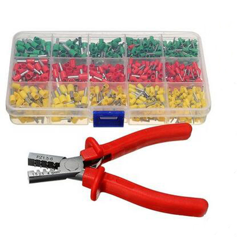 5 Sets Crimping Tool Set One Crimping Pliers + 990 Pcs Cold Crimp Terminals crimping tool crimping pliers for rg58 rg59 rg6 sma uhf rca coax bnc tnc