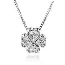 Everoyal Trendy Female Silver 925 Choker Necklace For Women Accessories Fashion Zircon Clover Pendant Girl Bijou Gift
