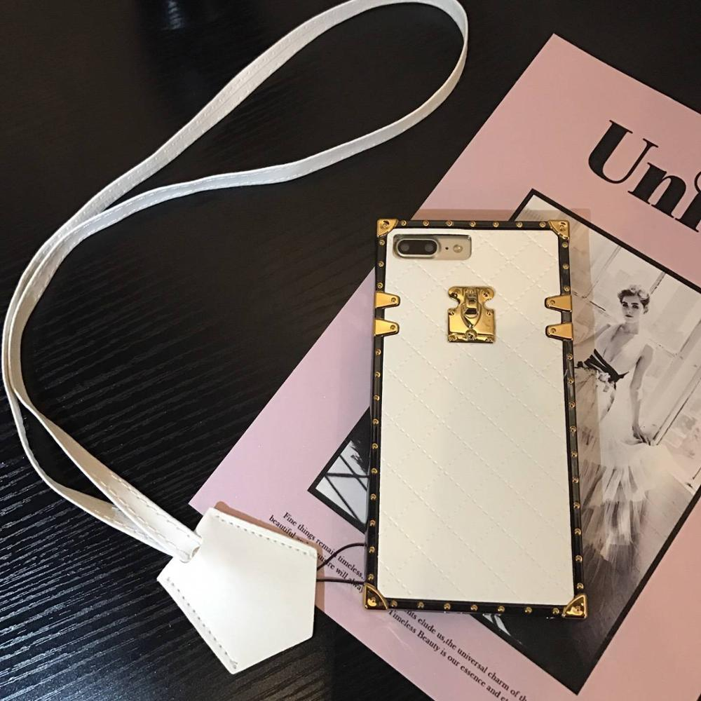 Urmwing Phone Cases for iphone X 6 6s 7 8 Plus Vintage Luxury PU Leather Fashion Square Lattice Phone Back Cover Accessories