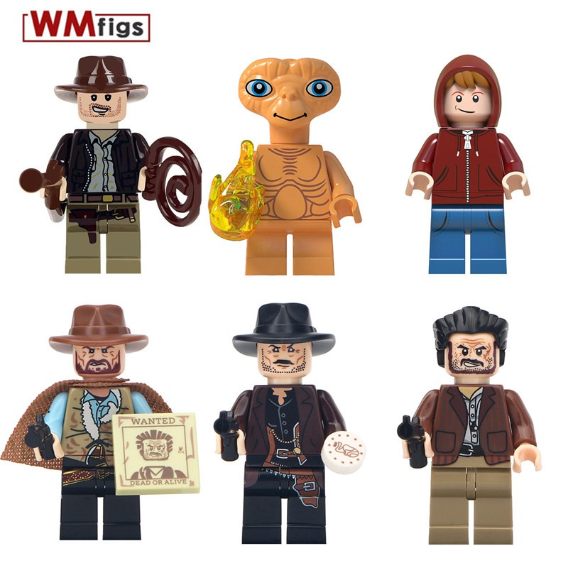 Cowboy Costume with Hat Gun Trump E.T. Lost Boys Legoingly Indiana Jones Minifigs Building Blocks Toys for Children Gifts Kids