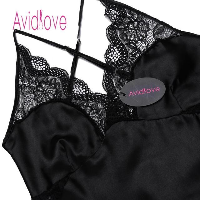 Avidlove Summer Nightwear V-neck Night Dress Women Sleepwear Satin Lace Patchwork Sexy Spaghetti Strap Chemise G-string Lingerie