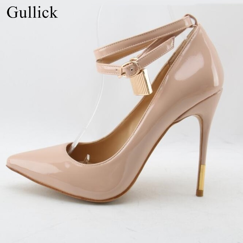Gullick Sexy Pointed Toe Lock High Heel Pumps Black Leather Ankle Strap Buckle Dress Shoes Women Gold Metal Heels Party Shoes black smooth leather women pointed toe ankle buckle pumps deep v back ladies blade heel shoes spring fashion female dress shoes