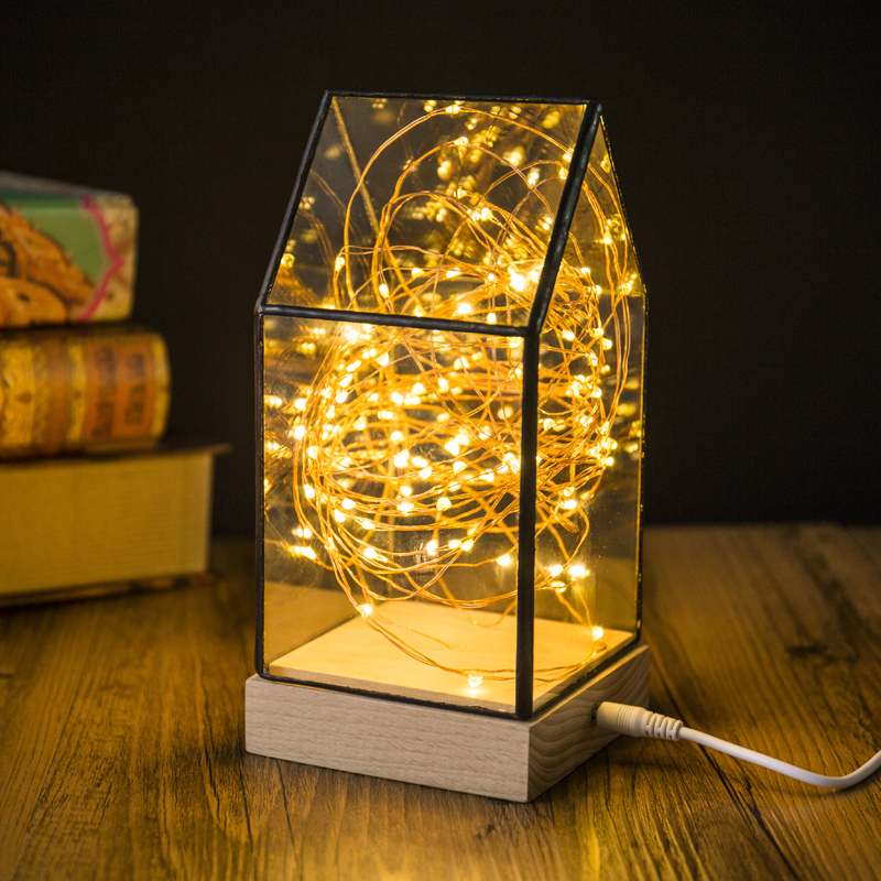 Firefly Led Table Lamp Glass House Shaped Night Light Wood