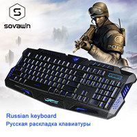 Sovawin Wired English / Russian Keyboard Red/Blue/Purple Backlight Gaming Keyboard Waterproof design Gamer Computer Peripherals