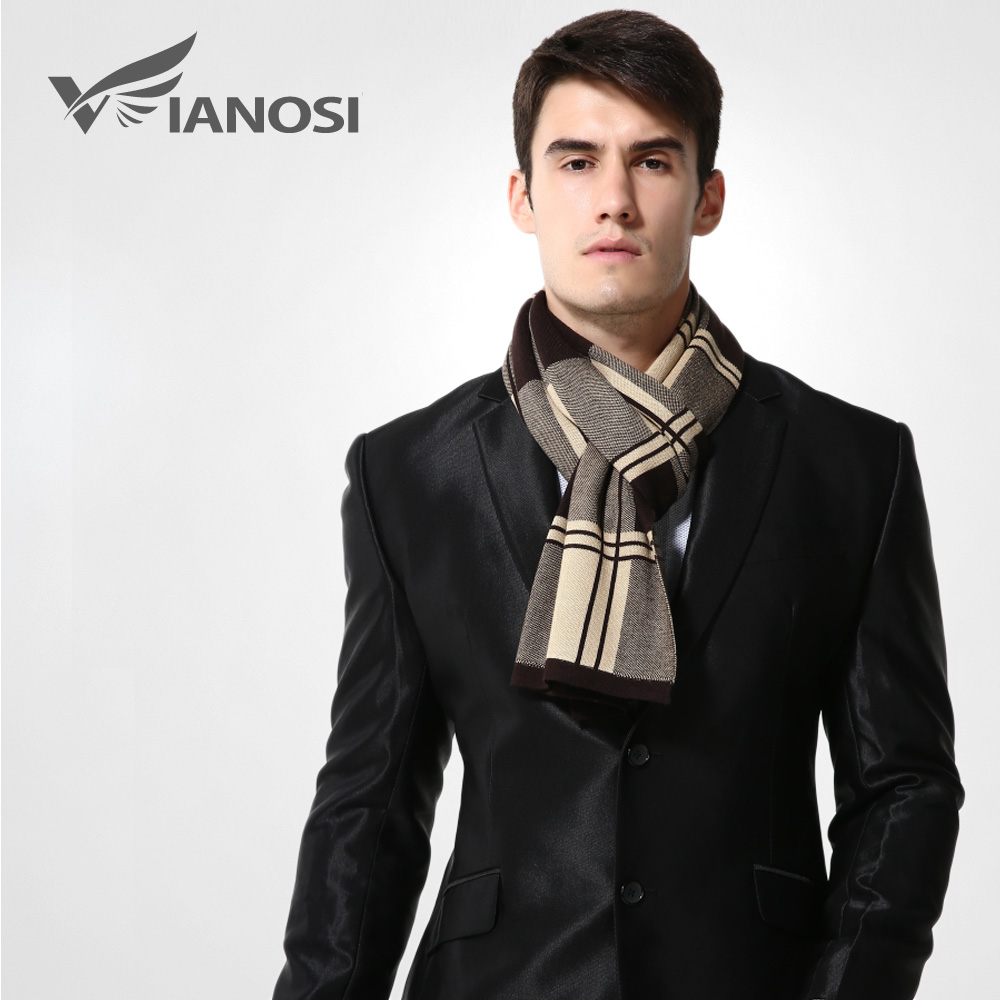 VIANOSI Wool Plaid Winter Men Designer Shawl Bussiness Casual Scarves MA009