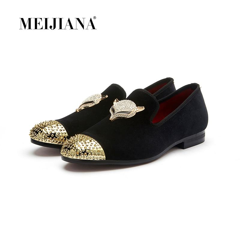 MeiJiaNa men black velvet shoes with