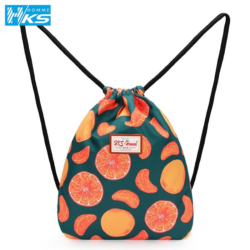 2020 New Backpack Drawstring 3D Orange Printing Bags Drawstring Bag Travel Bag Women Daily Casual Bag Waterproof