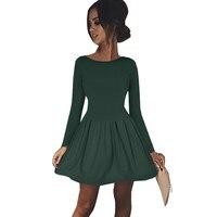 2018 봄 겨울 라운드 넥 드레스 캐주얼 여성 레드 녹색 스케이팅 드레스 긴 소매 주름 라인 드레스