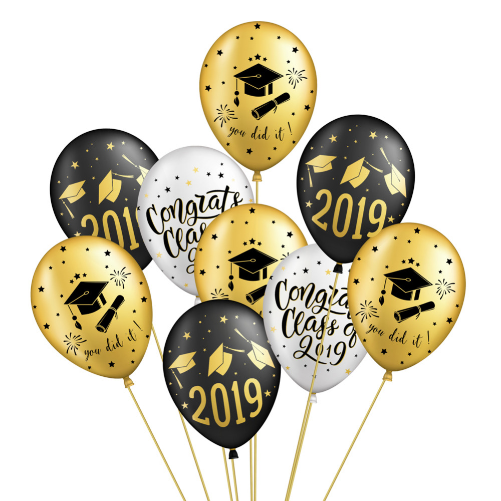 Black Gold Graduation Party Decor Set Congrats Grad Banner Foil Latex Balloons Fan Photo Props Nurse Graduation Prom 2019 in Party DIY Decorations from Home Garden