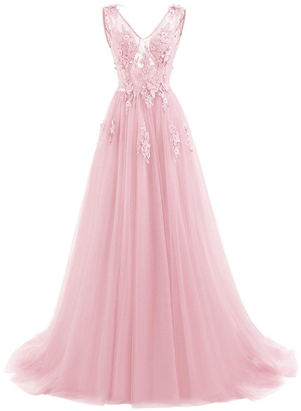 Elie Saab bleu robes De soirée 2019 grande taille Tulle Appliques longues robes formelles robes col en V à lacets sans manches Robe De soirée - 5