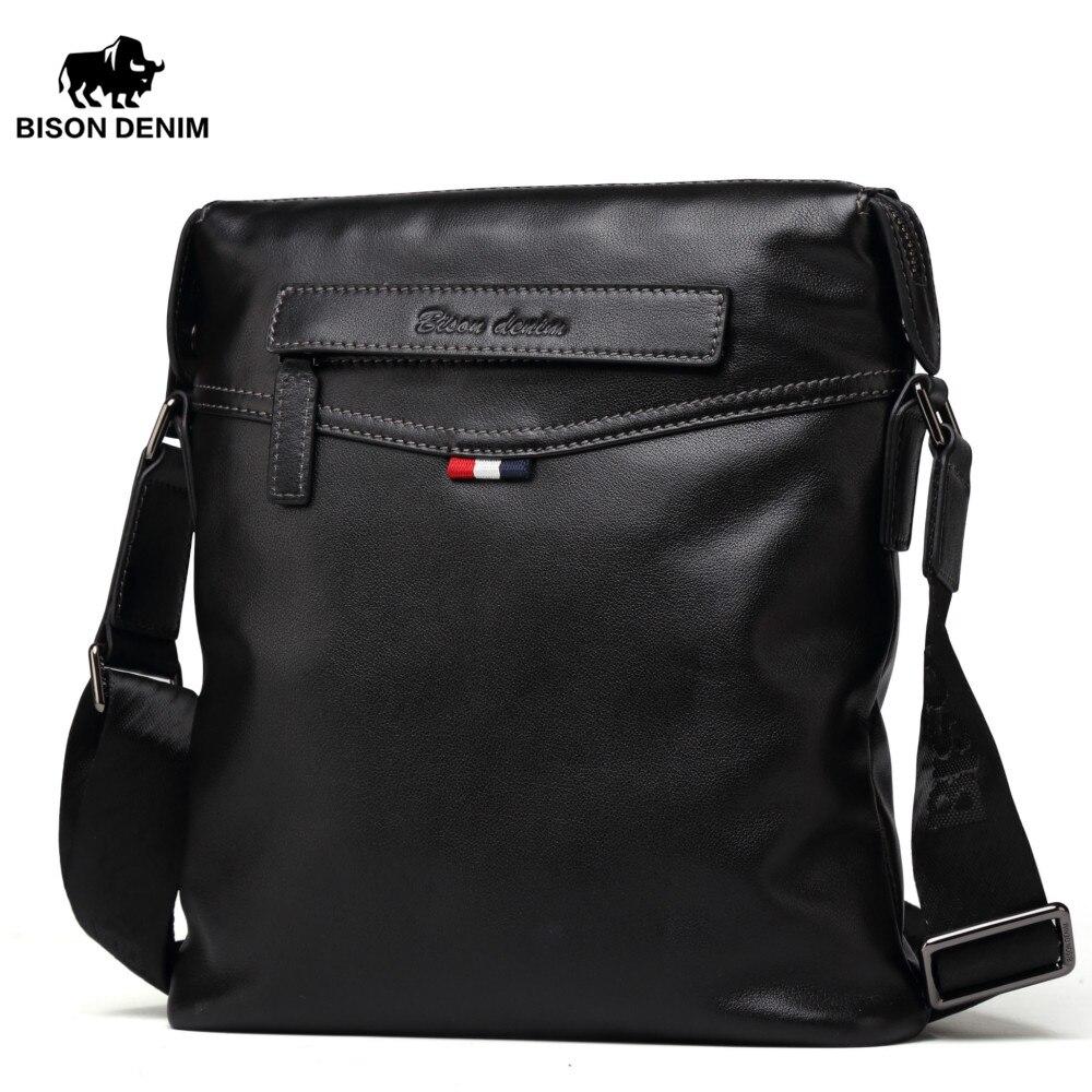 BISON DENIM Bag Men Classic Genuine Leather Crossbody Bag Business Shoulder Bag Large Capacity Ipad Messenger Bag Black N2490-1