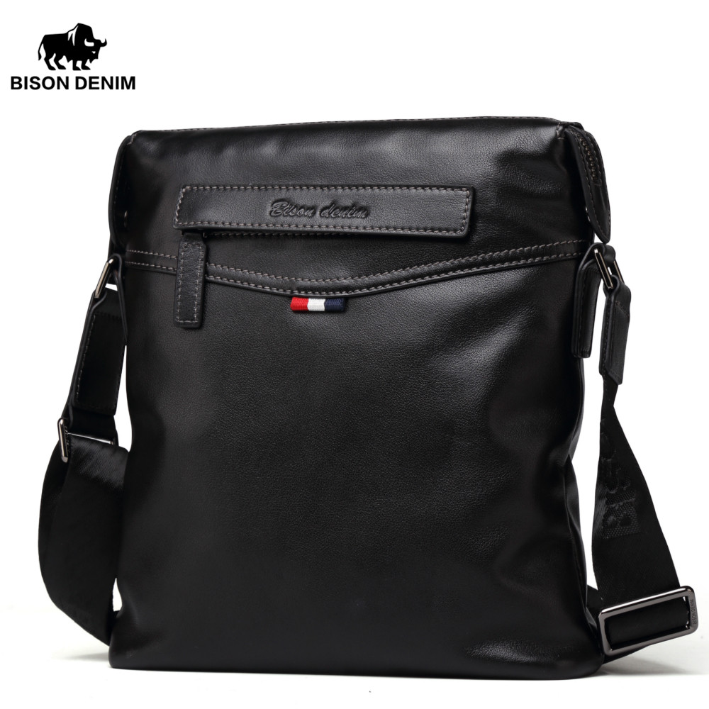 BISON DENIM bag Men Classic Black Business genuine leather bag brand crossbody bag designer Shoulder Bags N2490 bison denim genuine leather men s bag business shoulder crossbody bag christmas gift designer handbags high quality n2333 1