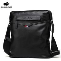 BISON DENIM Top Handle Bags Men Classic Black Business Genuine Leather Bag Brand Crossbody Bag Designer