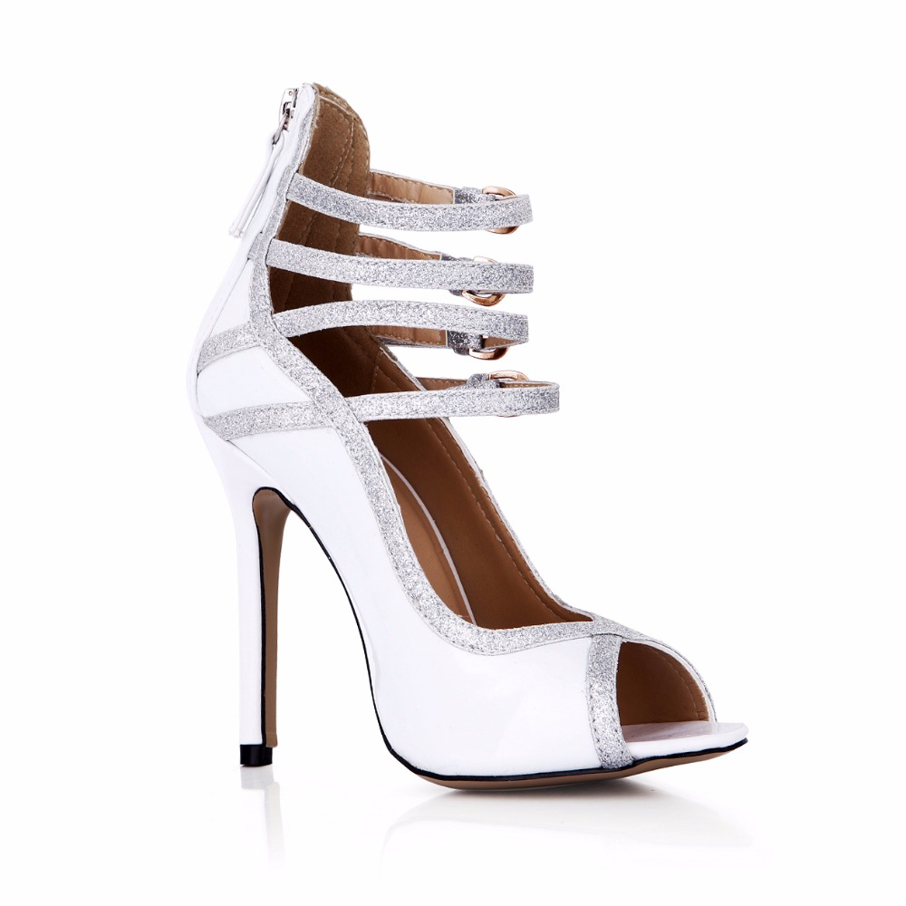 Gladiator Patchwork High Heeled Shoes Thin Heels Open Toe Buckle Strap Heels Mix Color Women Pumps Sexy Zip Party Peep Toe Shoes