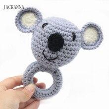Купить с кэшбэком 1PC Wood Teether Crochet Pattern Koala Rattle Bell Toy Wooden Animal Teether Wood Ring Baby Toys Newborn Shower Gifts BPA Free