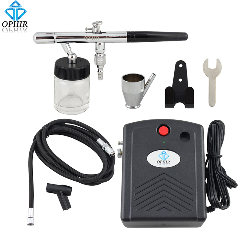 купить OPHIR 0.35mm Dual-Action Airbrush Kit with Mini Air Compressor for Cake Decoration Model Hobby Airbrushing Paint _AC034+AC072 онлайн