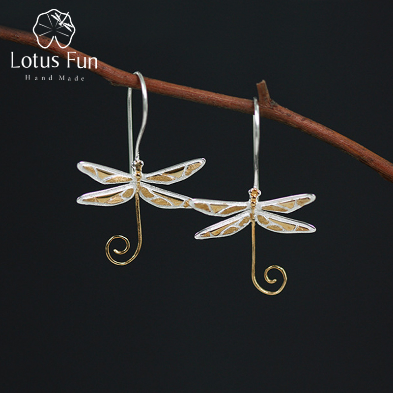 Lotus Fun Real 925 Sterling Silver Natural Style Handmade Fine Jewelry Cute Dragonfly Drop Earrings for Women BrincosLotus Fun Real 925 Sterling Silver Natural Style Handmade Fine Jewelry Cute Dragonfly Drop Earrings for Women Brincos