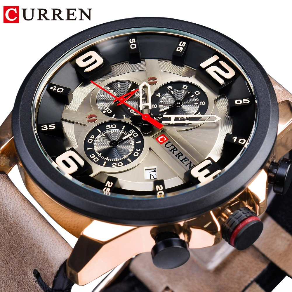 CURREN Chronograph Racing Speed Mens Quartz Sport Wrist Watch Brown Genuine Leather Belt Top Brand Luxury Military Relogio Clock