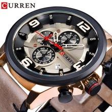 CURREN Chronograph Racing Speed Mens Quartz Sport Wrist Watch Brown Genuine Leather Belt Top Brand Luxury Military Relogio Clock