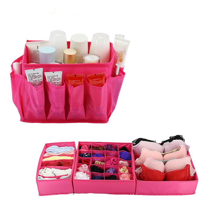Desktop Makeup Cosmetic Storage Boxes + 3PCS Underwear Socks Bra Tie Storage Box Organizer Container