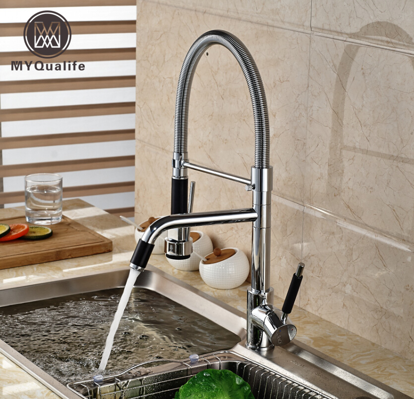 Chrome Finish Deck Mount Dual Spout Rotation Kitchen Sink Mixer Taps Single Handle Spring Pull Down Water Faucet