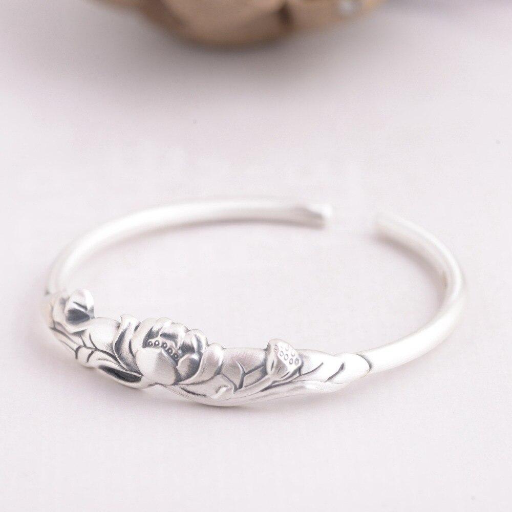 HFANCYW Pure S990 тайский серебряный матовый женский серебряный браслет оптовая продажа серебряный браслет с лотосом подарок на день рождения для