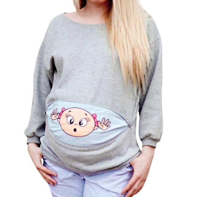 62f50824ca ARLONEET mulher grávida roupas de Maternidade Espreitar Bebê Camisola  Engraçado Zip Gravidez Mãe Pullover Pescoço Da